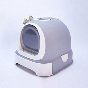 CS Poubelle fermée d'engrais de bassin de sable de toilette de chat pour empêcher le ponçage double couche complètement désodorisation de joint bleu marron gris rose ( Color : Gray )