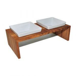Élégant & Dog Meshidai True Céramique + Bois de qualité de REPlus, c'est un Gamelle double en 4tailles: 02/0,4/0,9/