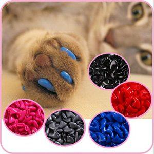 IMAKAR® Protège-griffes chat, 20 PCS fournis avec un tube de colle et un applicateur de précision. Non Toxique & faciles à utiliser. Ce cache griffe chats est la solution idéale pour protéger votre intérieur (TRANSPARENT)
