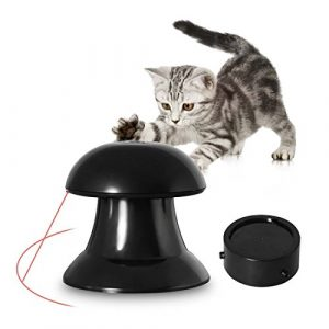 Jouets pour Chat Automatique Rotatif Lumière Jouet Interactif sans Danger pour Animal Domestique d'Exercice de Divertissement avec Rotation à 360 ° Motif pour Chiens et Chats – Noir