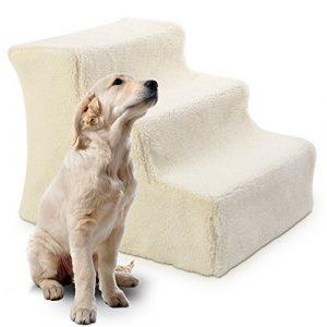 Promotion Cadeau Noël (-10%) PEDY Escalier pour Chien Chat PetStair Escalier Animal Marches Cachemire Riz Blanc 46*36*34cm-3 Marches – Easy Step Pets
