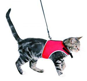 Trixie Parure pour Chat Harnais et Laisse Extensible rouge ou noir