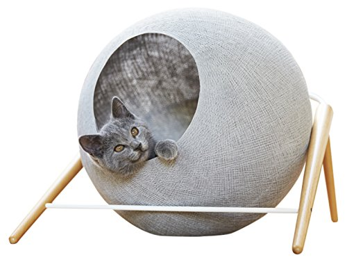 meyou paris la ball gris clair couchage panier arbre chat lit abri griffoir cocon