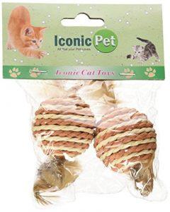 emblématique pour animal domestique papier Corde Boule avec queue de plumes, assorties, 2-pack