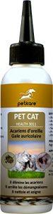 Peticare Chat Nettoyant pour Oreilles – Élimine acariens de Oreille et Gale auriculaire, nettoie en général, Soins 100% naturels – petCat Health 3011 (250 ML)