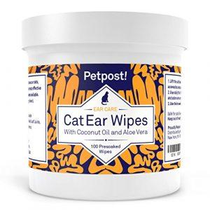 Petpost Lingettes nettoyantes pour oreilles de chats – 100 compresses ultra douces à l'huile de noix de coco – Traitement pour infection des oreilles et oreilles sales chez les chats.