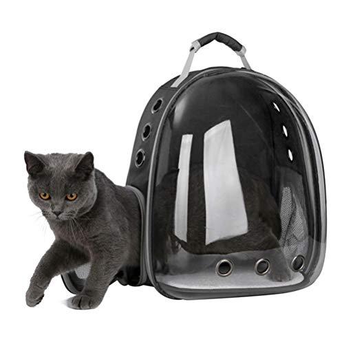 POPETPOP Portable Chien Chat Chien Chiot Sac à Dos Transporteur Bulle 360 degrés Transparent Sac à Dos Capsule Spatiale (Noir)