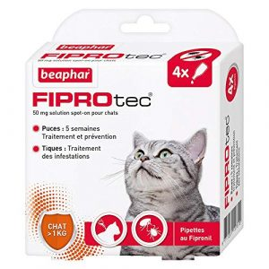Beaphar – FIPROtec, Pipettes Anti-puces et Anti-tiques au Fipronil – Chat – 4 Pipettes