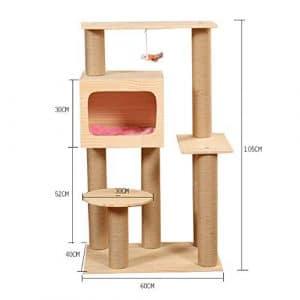 CQSMOO Arbre à Chat en Bois Massif pour Jeux de Couchage 40 x 60 x 105 cm