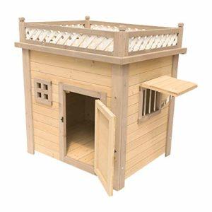 Animalerie Pet Dog House Cat House Niche Usage extérieur Usage intérieur Pet Abri for Les Chiots et Les Chiens Château Chat (Couleur : Natural, Taille : 91x114x120cm)