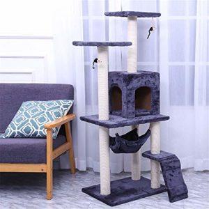 Arbre à Chat Multi-couche de chat mirador Arbre à chat avec Cave, Tour Cat Furniture Kitten Activity Center Kitten Play House pour Jouer et se Reposer ( Color : Dark gray , Size : 50X40X125CM )
