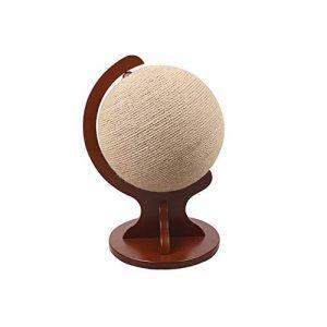 Arbre à Chat, Planche de Chat sisal de Haute qualité de la Carte Chat Globe Peut être utilisé à l'intérieur/extérieur Conception de Base en Bois Massif Jouet Balle Catch Centre activité,Marron