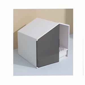 Boîte pour animal de compagnie, poubelle avec couvercle entièrement fermé, grande poubelle, pelle à déchets ergonomique, boîte pour chat anti-éclaboussures et désodorisant, convient pour les chats