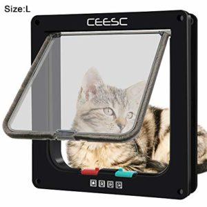 CEESC Porte Chatière Magnétique pour animal domestique avec serrure à 4 voies, 3 Tailles et 2 Couleurs – pour Chats, Chiots et Chiens de Petite Taille