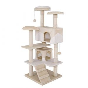 dibea Arbre à chat avec griffoir – 62 x 62 x 130 cm – Beige/Blanc