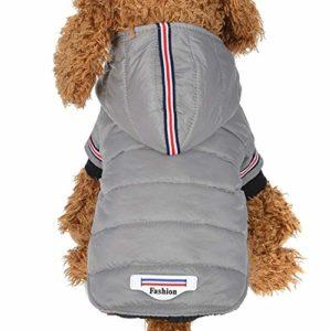 DRT Coton Veste d'hiver Manteau de Chien Jumpsuit avec Chapeau for Chiot Chien Chat (Color : Gray, Size : S)