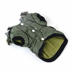 DRT Élastique vêtements en Coton Chaud Vêtements for Animaux Vêtements for Chien Zipper Manteaux Vêtements for Animaux for l'automne et l'hiver (Color : Army Green, Size : S)