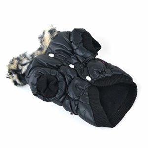 DRT Élastique vêtements en Coton Chaud Vêtements for Animaux Vêtements for Chien Zipper Manteaux Vêtements for Animaux for l'automne et l'hiver (Color : Black, Size : XS)