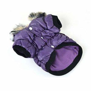 DRT Élastique vêtements en Coton Chaud Vêtements for Animaux Vêtements for Chien Zipper Manteaux Vêtements for Animaux for l'automne et l'hiver (Color : Purple, Size : XS)