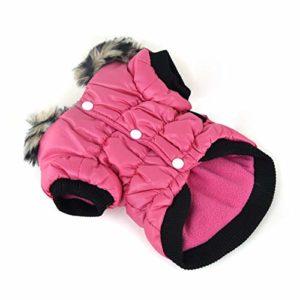DRT Élastique vêtements en Coton Chaud Vêtements for Animaux Vêtements for Chien Zipper Manteaux Vêtements for Animaux for l'automne et l'hiver (Color : Rose Red, Size : XXL)