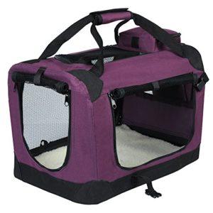 EUGAD 0108HT Cage de Transport en Oxford Sac de Transport Pliable pour Chien ou Chat,Violet 49,5×34,5x35cm