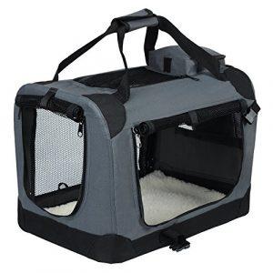 EUGAD 0124HT Cage de Transport en Oxford Sac de Transport Pliable pour Chien ou Chat,Gris 81,3×58,4×58,4cm