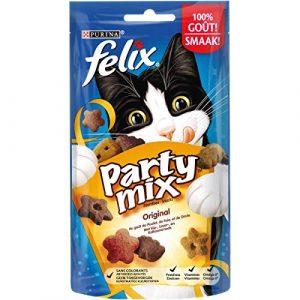 Felix Party Mix Original : Poulet, Foie, Dinde – 60 g – Friandises pour Chat – Lot de 8