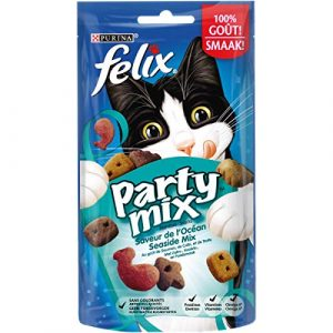 Felix Party Mix Saveur de L'Océan : Saumon, Colin, Truite – 60 g – Friandises pour Chat – Lot de 8