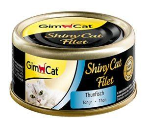 GimCat ShinyCat Filet – Aliment pour chats 100% filet pour chats adultes – Sans sucre ajouté ni gluten – Thon – 48 boîtes (48 x 70g)