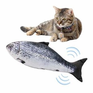 Goodtimera Jouet à mâcher pour Chat Wagging Fish Electric Jump Fish Automatique Simulateur USB Saumon