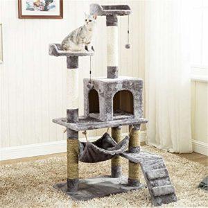 Huangjiahao Arbre à Chat Arbre à Chat Tour de Chat Chat Escalade Cadre avec Chat Nest et hamac, Tour Cat Meubles Kitten Play House pour Jouer et Se Reposer (Color : Gray, Size : 60X40X140CM)