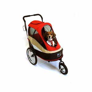 JKL Poussette pour Animaux de Compagnie, Chariot de Luxe pour Chiens, Chariot, Chariot de Berger Poutine, Voiture de Voyage Facile à Plier, Charge de 25 kg (Couleur : Red)