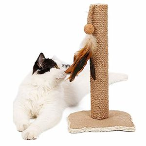 LKIHAH Arbre De Stable Chat, Chaton À Chat avec Une Plume Balle Toy Cat Claw Scratcher avec Sisal Corde pour l'escalade Chewing Jouer Ersatile