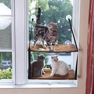 L.S Chat Lit Fenêtre Hamac Jusqu'à 25kg Cadre Métallique Dtable Tapis Doux Minou Ensoleillé Perch Chat Visage (Double Couches, Marron)