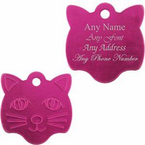 Médaille Personnalisable en Forme de Visage de Chat, Rose, idéal pour Tout Chat ou Chaton
