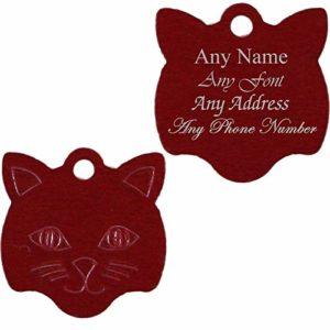 Médaille Personnalisable en Forme de Visage de Chat, Rouge, idéal pour Tout Chat ou Chaton