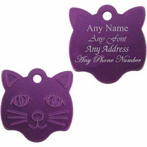 Médaille Personnalisable en Forme de Visage de Chat, Violet, idéal pour Tout Chat ou Chaton