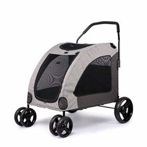 Mien 55kg gris, ensemble une touche for poussette bébé, rabattable for chien quatre roues quatre roues antichoc du champ de bataille antichoc, rotation de 360 degrés for animaux de compagnie en rota