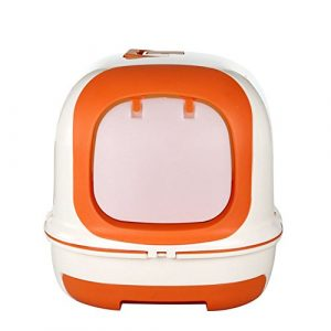 Pet Online Cat Toilet Full Fermé Grand tiroir de luxe Cat Litter Box, Orange