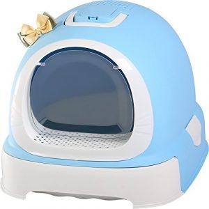 Pet Online Toilettes chat style mignon surdimensionné entièrement clos de la litière pour chat cat pot, 52 * 42 * 40cm, bleu