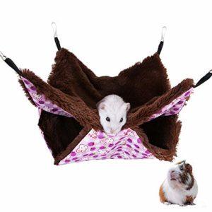 PLUS PO Hamac Cochon d'Inde Cage Rat Pet Hamac Hamster Hamac Furet Hamacs Deux-Couche Écureuil Sac de Couchage Chaton Lit Lits de Lapin pour L'intérieur Purple,l