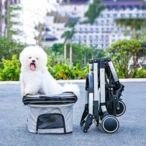 WAS Détachables Pet Poussette, 3 en 1 Multi-Fonctionnel Chien Chat Pram Buggy Poussette avec 4 Roues, Un Clic Pliant, Moyen Rongeur Siège D'auto (Color : Gray)