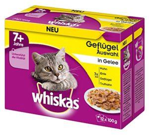 whiskas 7 + Nourriture pour Chat – Aliment de Chat de Haute qualité à partir de 7 Ans et Plus – 48 sachets portions
