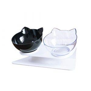Yajiun Gamelles Chat Chien Double Bols pour Chats Antidérapants avec Support Surélevé 27.5×13.5x7cm
