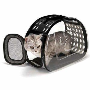 YUY Sac De Voyage pour Chat, Sac à Main Transparent pour Chat Confort Lapin Voyage Confortable,Black-Large