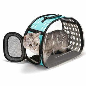 YUY Sac De Voyage pour Chat, Sac à Main Transparent pour Chat Confort Lapin Voyage Confortable,Blue-Small