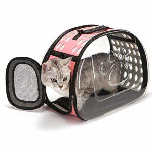 YUY Sac De Voyage pour Chat, Sac à Main Transparent pour Chat Confort Lapin Voyage Confortable,Pink-Large