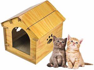 BTXX Maison en Bois Chat Simulé avec Bricolage Cat Cat Front Door Lit Nest Pet Lit Shelter Pet intérieur et extérieur 12,18 * 12,06 * 12 (Couleur : Yellow)