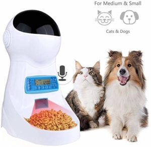 Cat Dog Food Distributeur 3 litres trémie, 4 repas avec minuterie programmable, contrôle des portions, enregistreur vocal, de l'Alimentation Dispense voix Remind, IR Detect for chiens Moyen Petit Chat