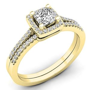 DazzlingRock Collection 14k Or Jaune Princess & Round I-J Diamant Blanc